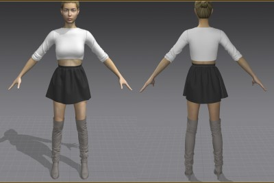 3D crop sweater, skirt, and over the knee boots