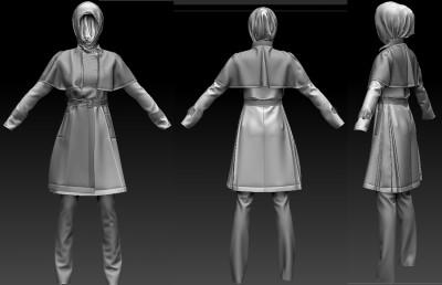 3D Muslim Turkish cape coat outfit