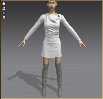 3D Asymmetrical shawl collar shirt, mini skirt and tall slouch boots