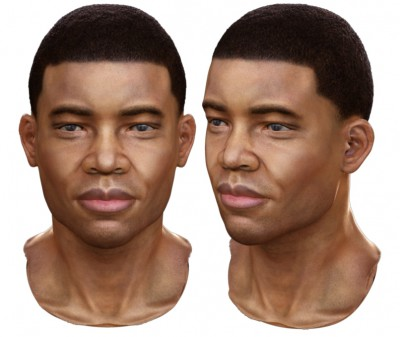 Male African-American 3D character head