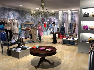 Women's clothing store 3D environment