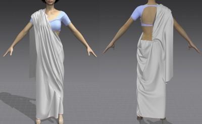 3D lehenga-style saree
