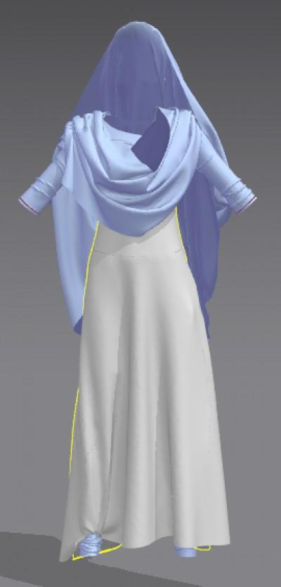 3D long salwar kameez with draped dupatta