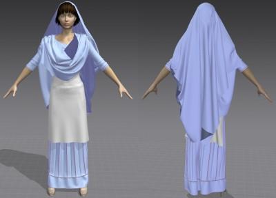 3D lehenga, kameez with draped dupatta