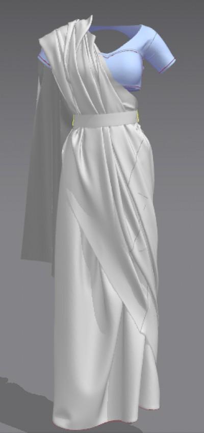 3D belted saree