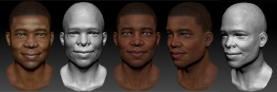 African American male head (smiling)