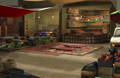 3D Middle-eastern night market environment