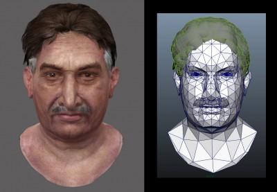 Male Pakistani 3D character head (Maya MR render vs. mesh)