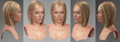 Blonde American female head